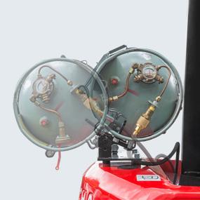 Tilt-back cylinder holder is easy for replacing LPG cylinder and opening engine hood for maintenance